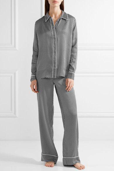 Kate Moss for Equipment - Shiloh Printed Washed-silk Pajama Shirt - Black - x small