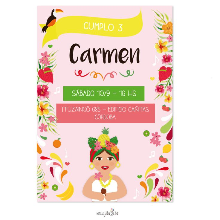 Tropical party printable invitation, Carmen Miranda inspired. Invitación…