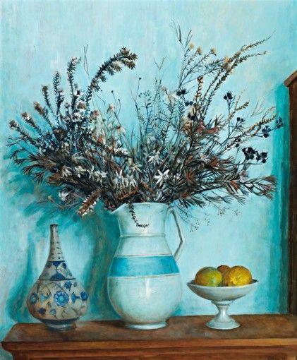 Margaret Olley, Hawkesbury wildflowers with lemons 1971. Oil on board…