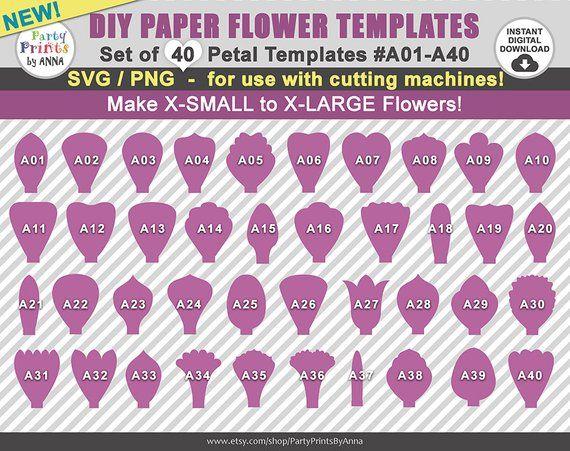 40 svg paper flower templates  petal templates a01