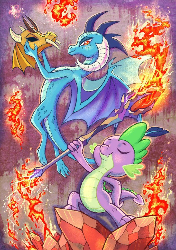 #1134284 - artist:stasysolitude, bloodstone scepter, dragon armor, fire, gauntlet of fire, helmet, princess ember, safe, spike, spoiler:s06e05 - Derpibooru - My Little Pony: Friendship is Magic Imageboard