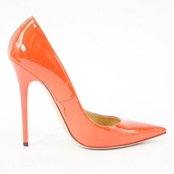 Pre-owned Jimmy Choo Patent Leather Court Shoes ($289) ❤ liked on Polyvore featuring shoes, pumps, orange, women shoes heels, patent pumps, jimmy choo, patent shoes, high heel shoes and jimmy choo shoes