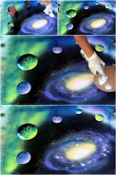 spray paint art outer space scene how to, crafts, home decor, painting, repurposing upcycling, wall decor seen at www.hometalk.com