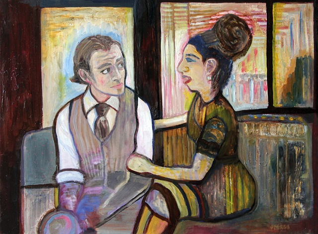 """""""It's Not You, It's Me"""" by Leslie Pierce on Gessobord, oil and encaustic"""