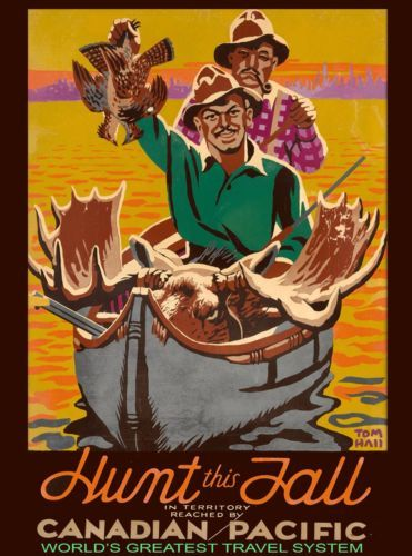 Canada-Hunt-this-Fall-Canadian-Pacific-Vintage-Travel-Advertisement-Poster