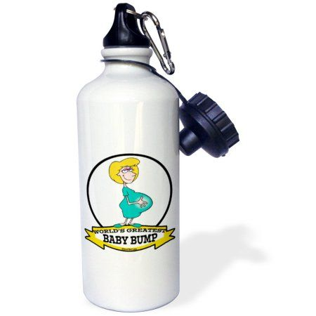 3dRose Funny Worlds Greatest Baby Bump Women Pregnancy Humor Cartoon, Sports Water Bottle, 21oz, White