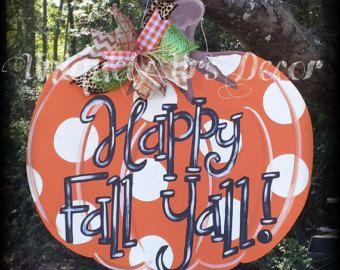 Pumpkin Door Hanger Fall Door Hanger Fall by shabbyandsuchdesigns