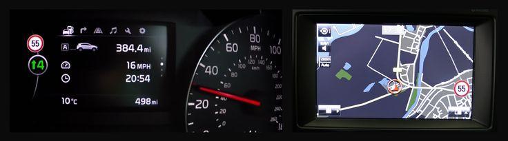 Votre conduite est facilitée par le système de reconnaissance des panneaux de signalisation. Tout au long de votre itinéraire vous serez informés sur la vitesse autorisée. Si vous sortez par mégarde de votre voie de circulation, vous serez alerté par un signal sonore. Si le système ne détecte pas votre action, il corrigera l'erreur spontanément. Si un danger se présente, vous serez averti par le système de surveillance des angles morts.
