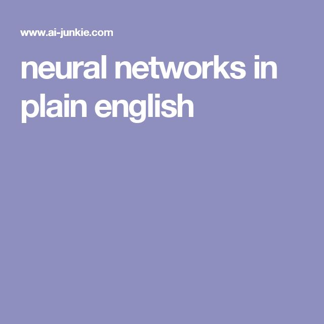neural networks in plain english