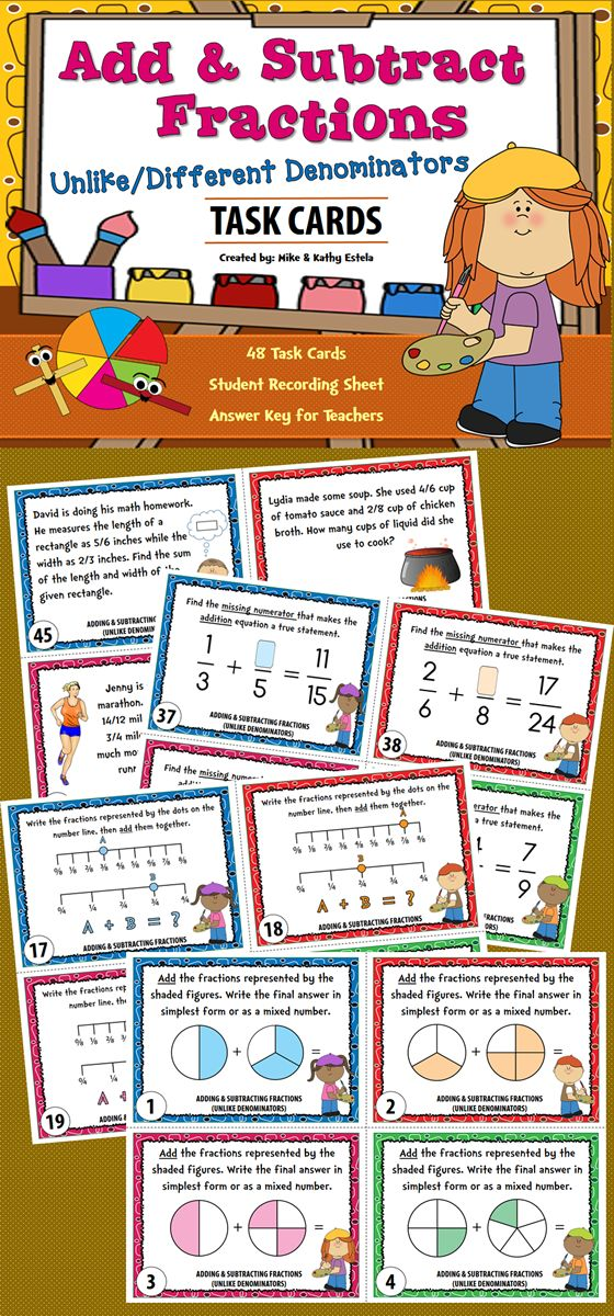 There are forty-eight (48) task cards in this set that you can use to discuss/review how to add and subtract fractions with unlike or different denominators.