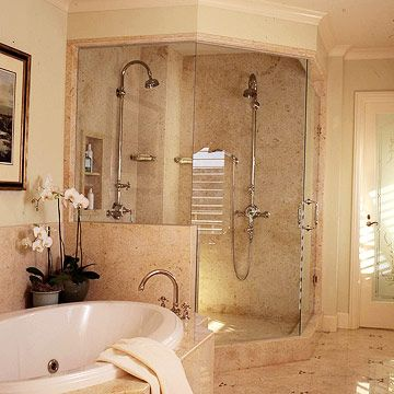 I like the combination of a bathtub and shower for my Master bathroom. I love neutrals... the color of the floor tiles, shower wall and the part that holds the bathtub. Clean, sleek, roomy and just enough light in this room. Love it!