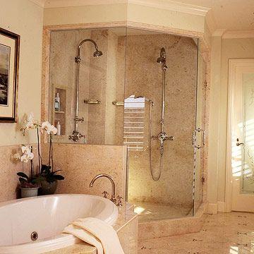 Master Bathroom: Bathroom Design, Dreams Bathroom, Tile Shower, Dreams House, Corner Shower, Bathroom Ideas, Bathroom Shower, Double Shower Head, Master Bathroom