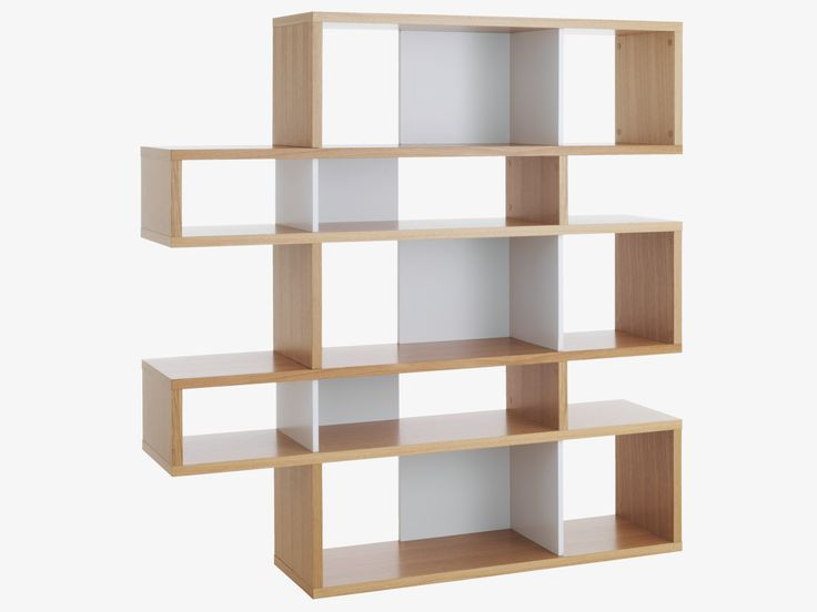 ANTONN NATURAL Wood Tall oak/white shelving unit - HabitatUK
