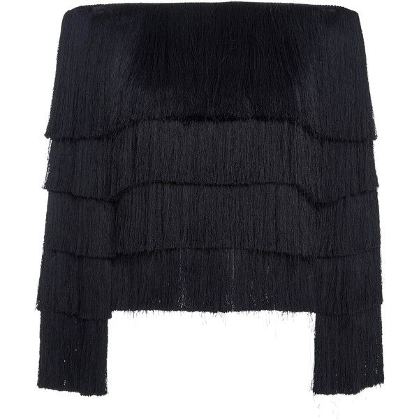 A.L.C. Andrie Fringed Sweater ($495) ❤ liked on Polyvore featuring tops, sweaters, black, a.l.c top, off the shoulder sweater, off the shoulder tops, fringe tops and off-shoulder tops