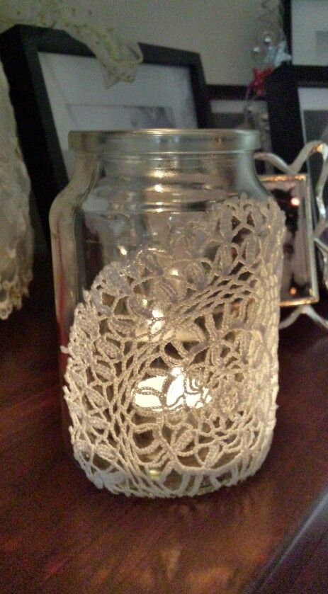 Glass Jar Decorated With Doily Nailed It Pinterest