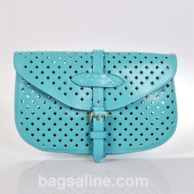Louis Vuitton Cruise Collection 2012 Perforated Calfskin Leather Saumur Clutch Bag - Sky Blue M94087  $169.00