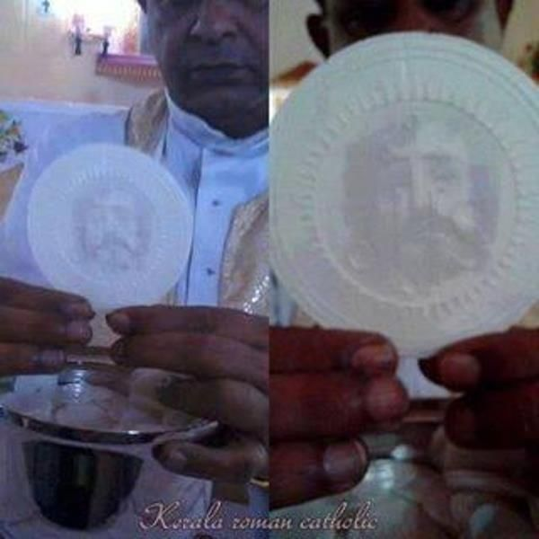 Eucharistic Miracle in Kerala, India:  Eucharistic miracle has occurred at the Syro-Malabar Catholic parish of Christ the King in the village of Vilakannur, in the Kannur district of Kerala, India.  On November 13, 2013, an image of Christ appeared on the Host shortly after consecration at the 7am Mass said by Fr Thomas Pathickal.  The face remains after 9 days.  This occurred a few days after anti-Catholic pamphlets mocking the Eucharist were distributed locally.