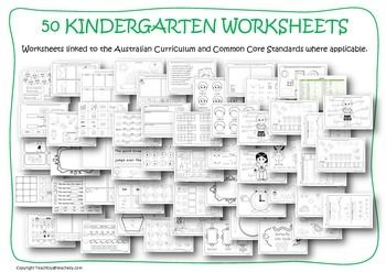 Worksheets Kindergarten - 50 Kindergarten worksheets linked to the Australian Curriculum and Common Core Standards where applicable. Covers areas of maths, literacy, science, history and health. THAT IS 10c/PAGE!