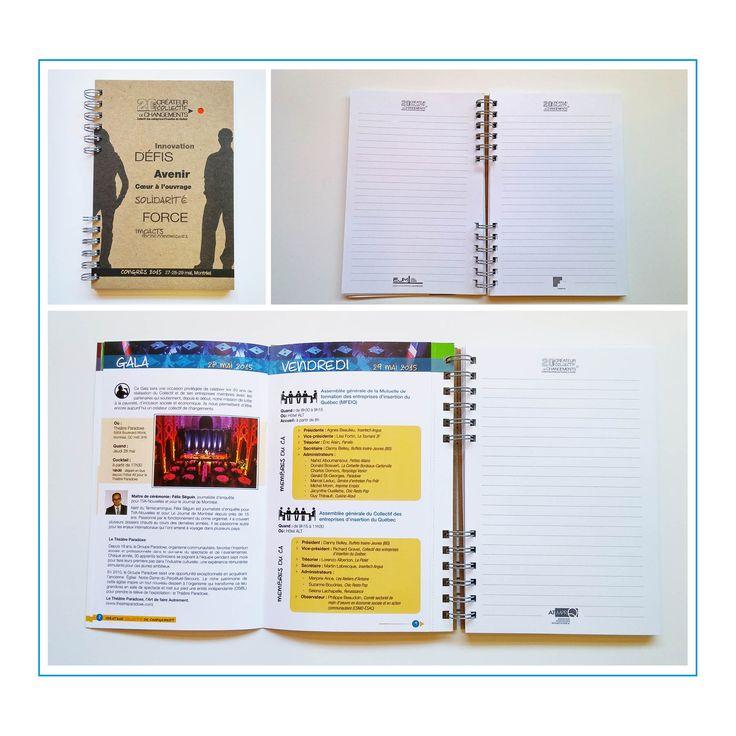 cahier du congressiste, Collectif des entreprises d'insertion du Québec avec programme couleur détachable | conception graphique, impression, finition