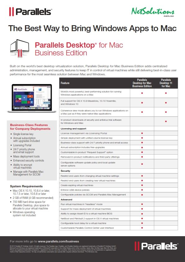 PT. #Netsolutions Infonet #Parallels Desktop® for Mac Business Edition The Best Way to Bring Windows Apps to Mac