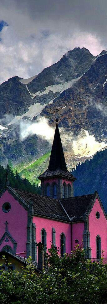 Church in the Alps , Switzerland