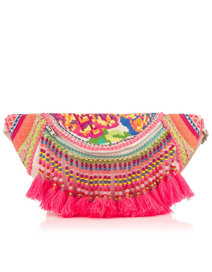 Cochella Bumbag Keep your lipgloss and souvenir money safe in this! Love those fab neon pink tassels :)