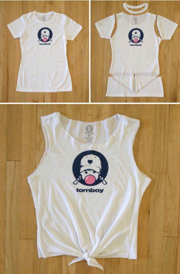 T-Shirt Makeovers - DIY T-Shirt Crop Top Tutorial - Awesome Way to Upcycle Tees - Cool No Sew Tshirt Cutting Tutorials, Simple Summer Cutouts, How To Make Halter Tops and T-Shirt Dresses. Easy Tutorials and Instructions for Teens and Adults http:diyprojec