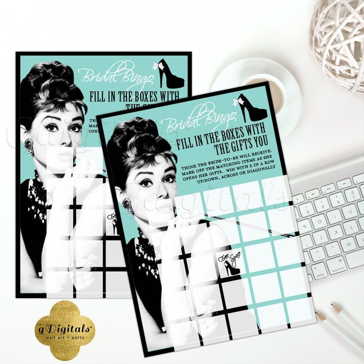 "Breakfast at Tiffany's Bridal Shower Games Bridal Bingo Shower Bingo Cards Audrey Hepburn 5x7"" 2/Per Sheet. {Blue & Black Stiletto Bow} #babyshowerideas4u #birthdayparty #babyshowerdecorations #bridalshower #bridalshowerideas #babyshowergames #bridalshowergame #bridalshowerfavors #bridalshowercakes #babyshowerfavors #babyshowercakes"