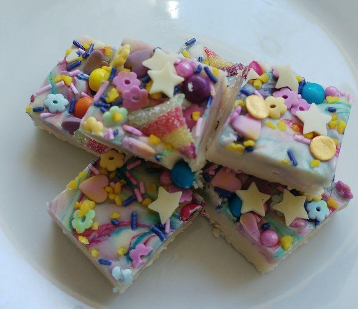 Unicorn fudge with stars hearts and rainbows
