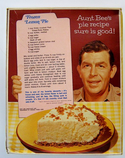 "1967 POST GRAPE NUTS FLAKES cereal with ""ANDY GRIFFITH SHOW"" Aunt Bee's pie recipe on the back 