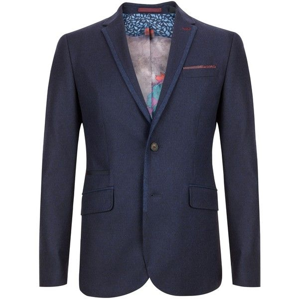 Ted Baker Illion Modern Fit Jacket, Navy ❤ liked on Polyvore featuring outerwear, jackets, ted baker, navy jacket, ted baker jacket and navy blue jacket
