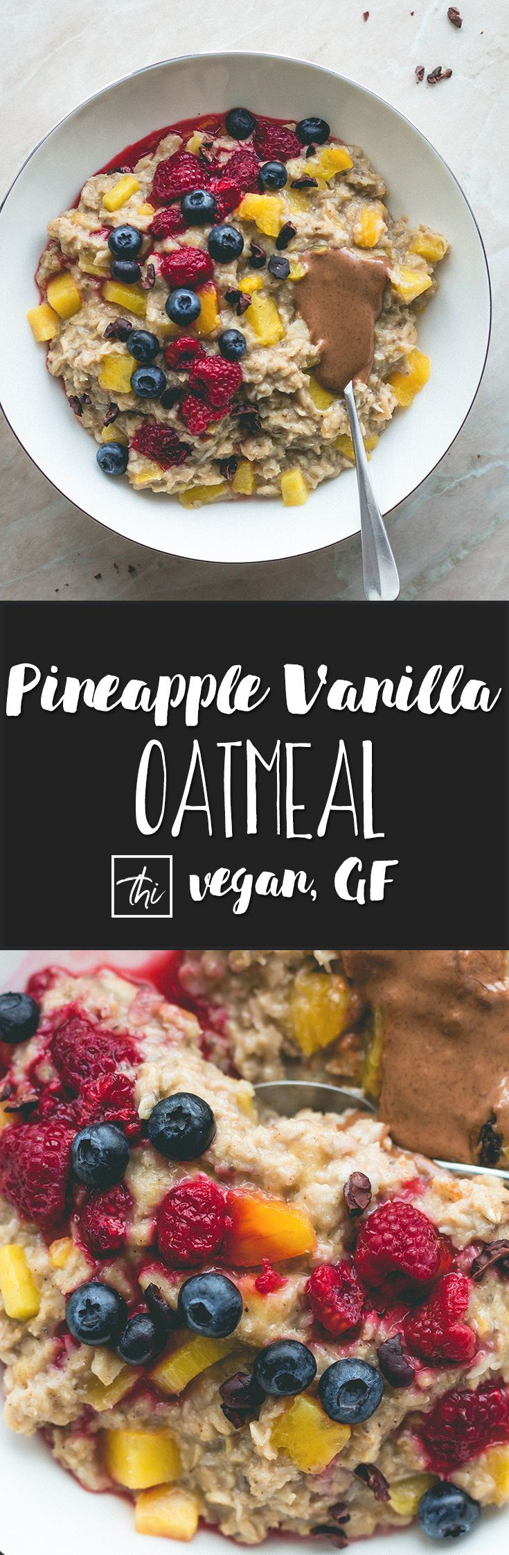 Pineapple Vanilla Oatmeal (vegan, gluten-free) - the best tropical breakfast! Only a few simple ingredients and 15 minutes to make. This pina colada oatmeal is really easy to make and super delicious! You'll love this recipe!   thehealthfulideas.com via @healthfulideas