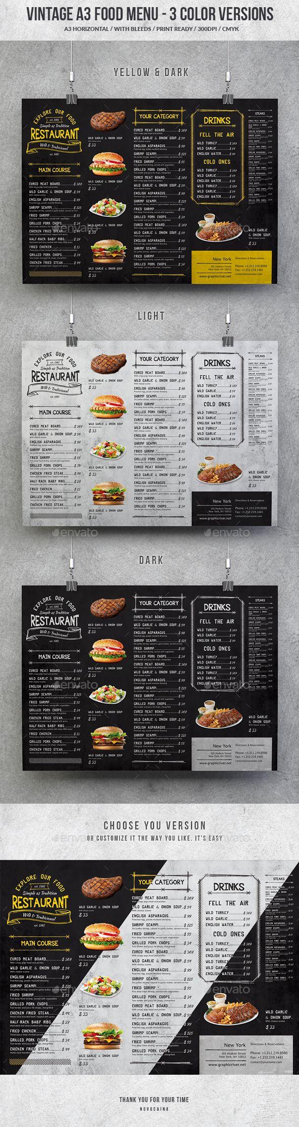 Vintage A3 Food Menu 3 Color Versions