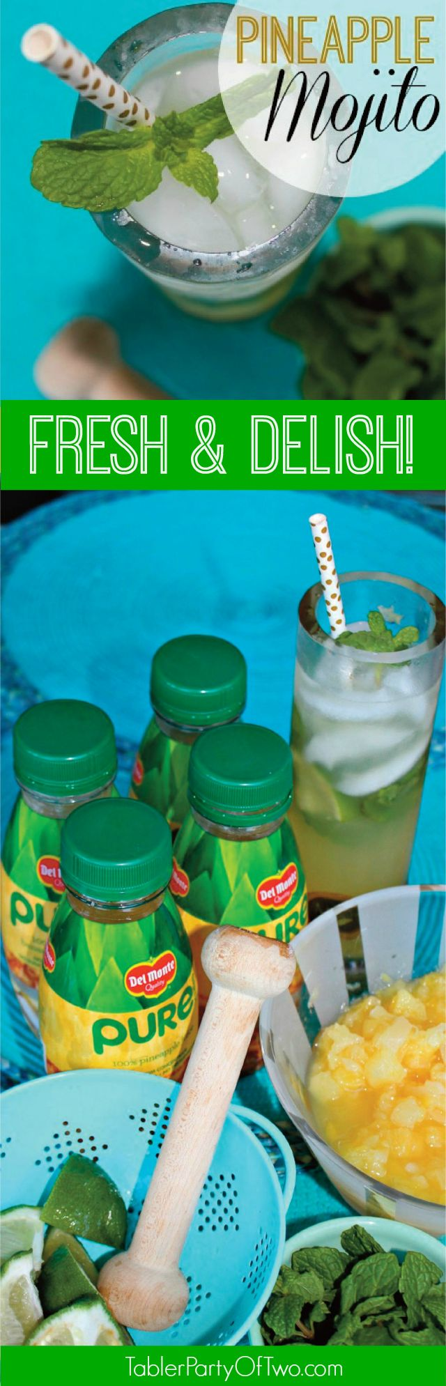 Pineapple Mojito- so fresh, so delish... One of my favorite cocktails ever! TablerPartyofTwo.com