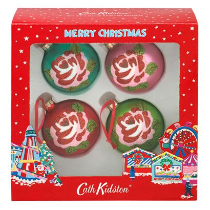 Set Of 4 Glass Baubles