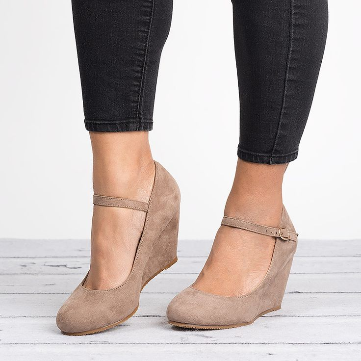 Mary Jane Wedge Pump- Taupe