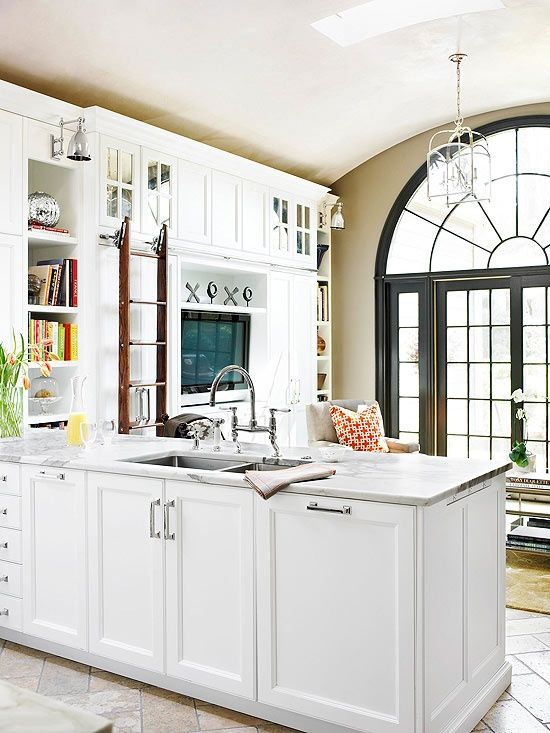 A shared kitchen and tv room that maximizes storage and style.: Maxim Storage, Black Window, Kitchens Colors, Style, Open Spaces, Kitchens Ideas, Tv Rooms, Shared Kitchens, White Kitchens