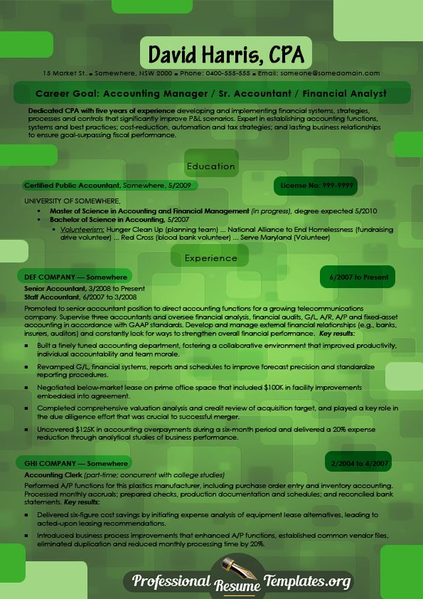 bright accounting resume template 14 best images