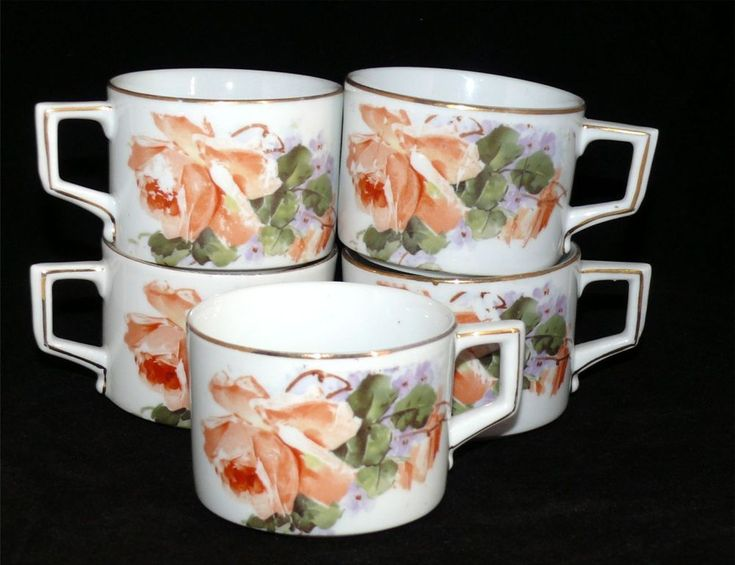Vintage H & Co. Mirzi Crown Heinrich Selb Bavaria Rose China Coffee Cup Set 5 #HCo