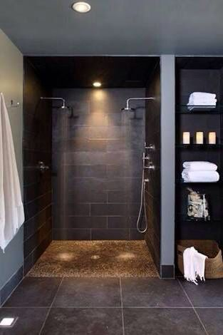 DO NOT LIKE THIS SHOWER; ONLY SHOWING TO DEPICT HOW I LIKE ONE SIDE WITH THE RAIN SHOWERHEAD AND THE OTHER WITH THE DETACHABLE SHOWER HEAD.  TWO SHOWER HEADS AND A BENCH