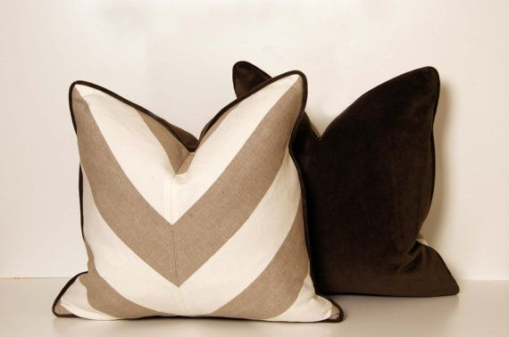 So so so so so so cute these are the colors i want my living room! Beige and tan chevron pillows for the couch
