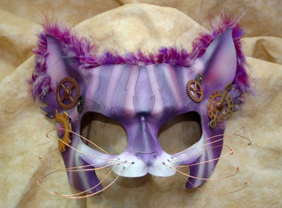 Steampunk Cheshire Cat Leather Alice in Wonderland Leather Cosplay Mask