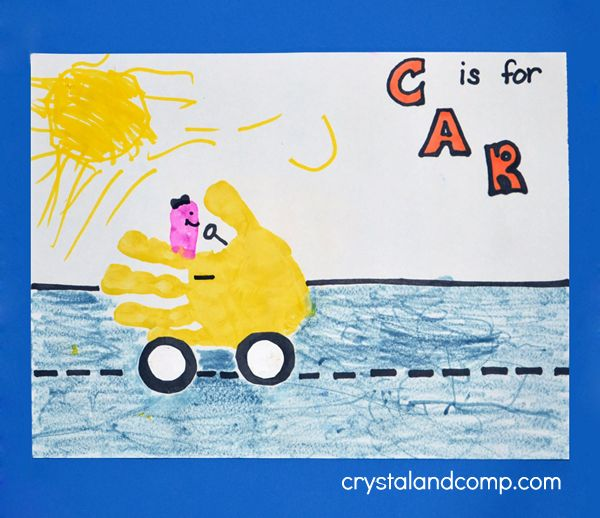 Letter of the week C is for Car Handprint art.  Also has a list of snacks and books and a few other ideas for the letter c.