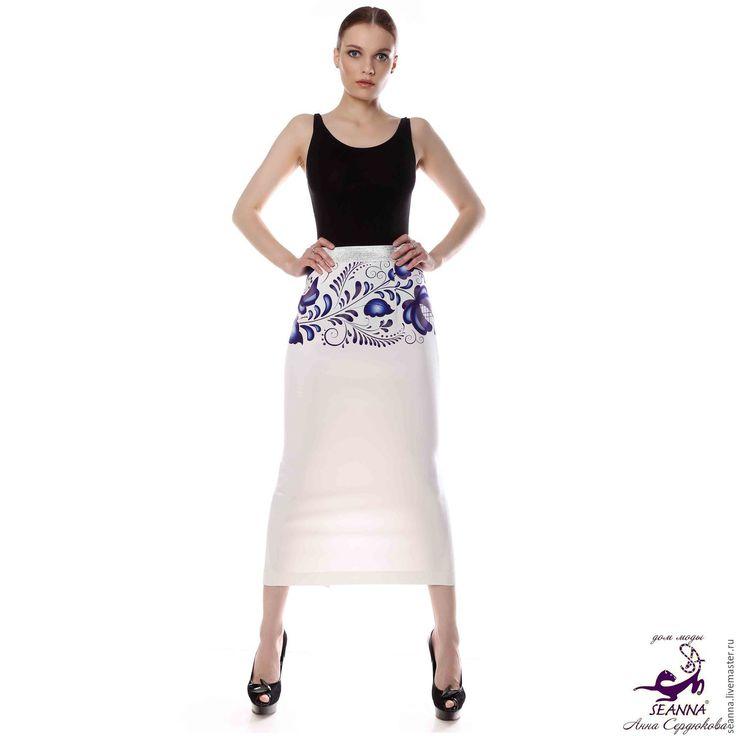 Купить Юбка стрейч джерси с авторским принтом Гжель на широкой резинке - юбка, юбка карандаш