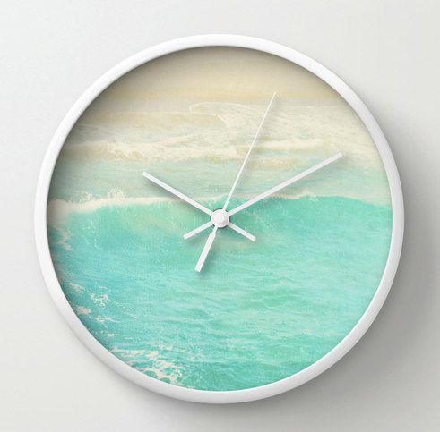 Wall Clock Beach House Decor Ocean Wave Photo Peppermint Blue White Brown Black Round