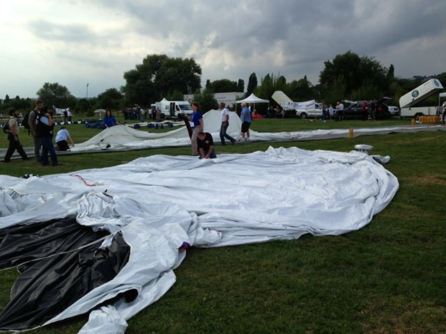 Getting ready to inflate for the 2013 Gordon Bennett Gas Balloon Race
