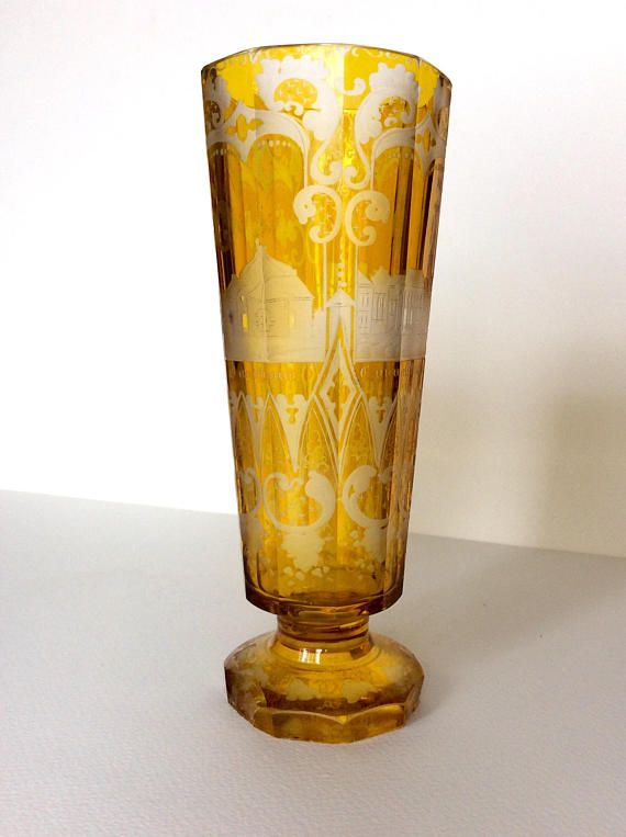 Bohemian Czech glass. Bohemian crystal. Crystal vase. Egermann