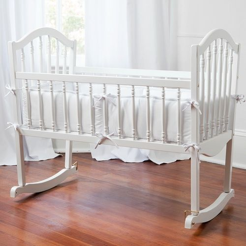 solid white cradle bedding