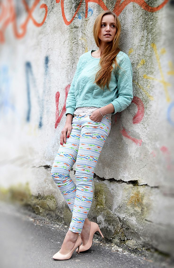 pastels, baby blue, aztec print and street style