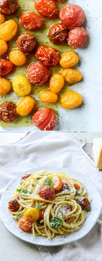 Roasted Garlic and Burst Cherry Tomato Bucatini - easiest summer meal! I howsweeteats.com